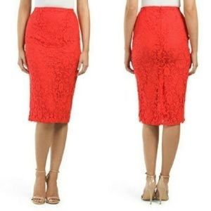 Anthropologie Maeve Red Lace Skirt